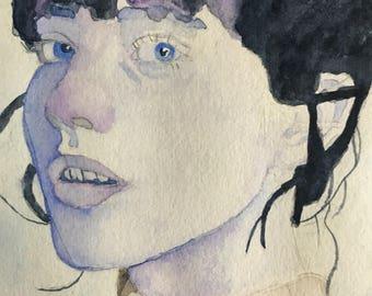 Watercolor female portrait