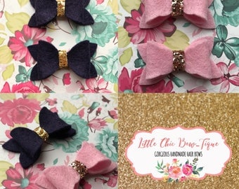 Spring Collection Hair Bow Pack   Pink & Navy   Gold Glitter   Baby   Toddler   100% Wool Felt