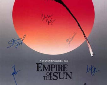 signed Empire of the sun movie poster signed by cast