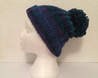 Hand knitted Bobble Hat with big Pom Pom