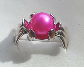 Hot Pink Akoya Lotus Ring