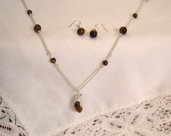 Sterling Silver Tiger's Eye Necklace/Earring Set