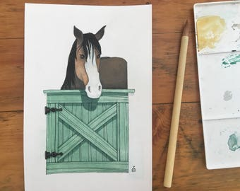 "FINE ART ""Draft Horse at Stable Door"" limited edition Giclee Print from watercolor illustration"
