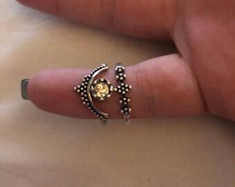 Set of cute silver rings
