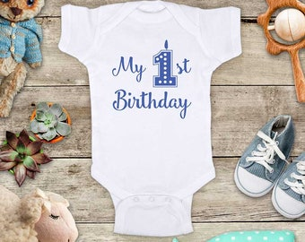 My 1st Birthday Candle design First Birthday Baby Bodysuit or Baby T-Shirt for Boy or Girl