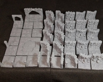 38 piece 28mm Modular Carvern Terrain set for Dungeons & Dragons Pathfinder RPG Roleplaying Games