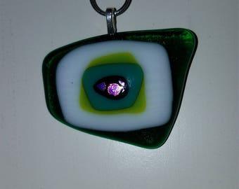 Zume Glass - Green Eye - Handmade Glass Fused Pendant