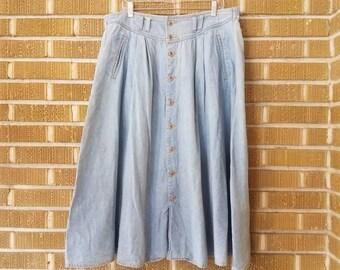 plus size 90s chambray midi skirt -18-