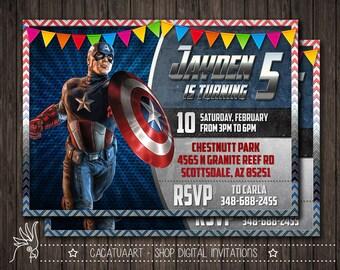Captain America Invitation, Captain America Birthday Party, Avengers Invitation, Superhero, Digital File