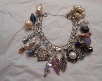Vintage Sterling Silver Bracelet Charmed to the Max with Assorted Baubles Pearls Rhinestones - Flirty Feminine Fun!