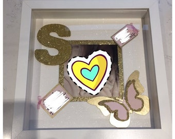 Birth date, birth time, weight, name Box Frame 23x23cm