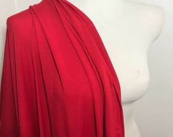 Red Bamboo Knit Fabric, super- soft, drapey, sold by the 1/2 yard