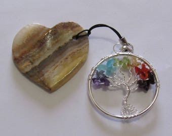 """Unique Heart shaped Worry Stone with an attached Tree of Life Pendant, Stone is 1 5/8"""" X 1 5/8"""" and Pendant is 1 1/2"""" in diameter.  Pendant."""