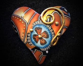 Yellow/Gold 'Brave' Heart Pin - Active Recovery
