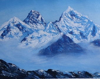 Mount Everest Highest peak of the world Acrylic Painting in Canvas