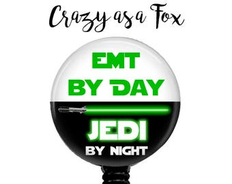 "Star Wars ""Emt by Day Jedi by Night"" Retractable Badge Holder, Badge Reel, Lanyard, Stethoscope ID Tag, EMT Gift"