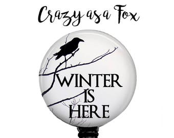 """Game of Thrones """"Winter is Here""""  Retractable Badge Holder, Badge Reel, Lanyard, Stethoscope ID Tag, Teacher, Nurse, MD Gift"""
