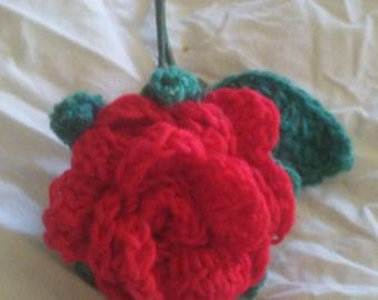 Crocheted red rose