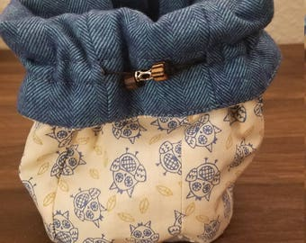 Owl Be Seeing You in Blue Flannel Bag