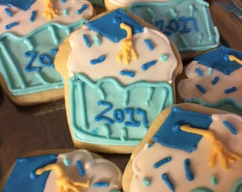 Graduation Cupcake Sugar Cookies        (One Dozen)
