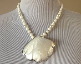 Karla Jordan / Necklace / Beaded Shell Pendant / Vintage