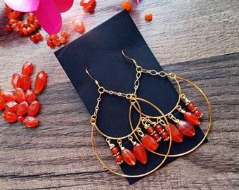Carnelian crescent moon earrings/ lightweight statement earrings/faceted high quality carnelian earrings/gold plated