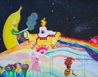 The Dark side of the Yellow Submarine / Acrylic Painting / Art Print