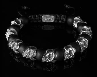 Outlaw - Skull bracelet ,Mens Bracelet, Mens Jewelry, Silver Bracelet, Men Luxury Jewelry, Men Beaded Bracelet, Men Gift, Boyfriend Gift