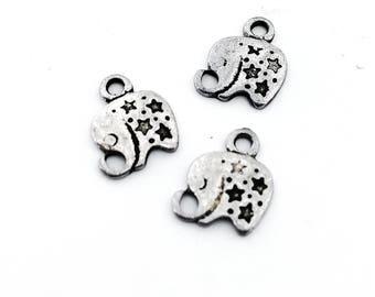 Pendant, charm, silver color, Elephant, 12 x 9 mm, hole 1.5 mm, 9 pieces
