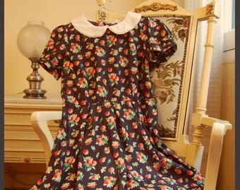 Peter Pan Collar Dolly Dress with Fruit Print VIntage Style