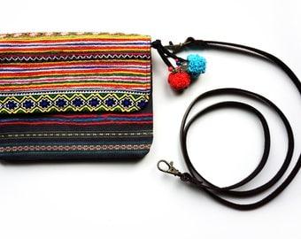 Boho Embroidered Bag, Hippie Purse, Festival Bag, Pom Pom Clutch Purse, Ethnic Crossbody Bag, Gipsy Bag, Shoulder Bag, Gift for Her, Handbag