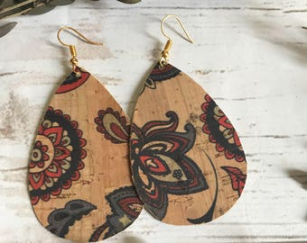 Paisley Floral Cork Leather Teardrop Leather Earrings