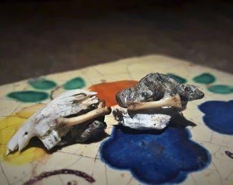 Silver and Jaw bone stud earrings
