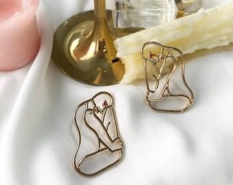 Gold Spooning Earrings