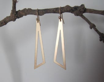 Golden Earrings triangle asymmetrical, minimalist geometric earrings