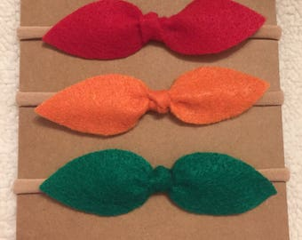 Top Knot Felt Bow Nylon Headband