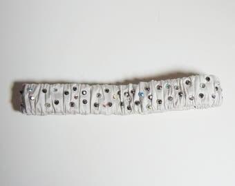 Silver grey handmade diamante silk garter