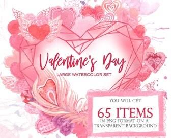 Eine Große Reihe Von Aquarell Illustrationen Und Kompositionen Für  Glückwünsche Zum Valentinstag