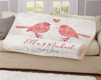 Personalized Love Birds Sherpa Blanket, Throw Blanket Gifts for Her, personalized sherpa blanket, Sherpa blanket, Love Birds
