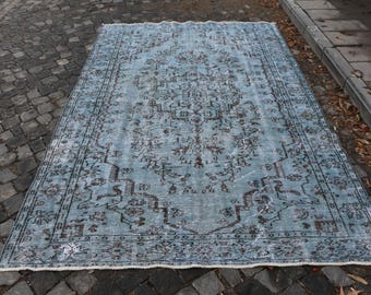 Faded Color Overdyed Rug Free Shipping Large Area Rug Floor Rug 5.8 x 9.2 ft. Bohemian Rug Oushak Rug Low Pile Hall Rug Oversize Rug MB135