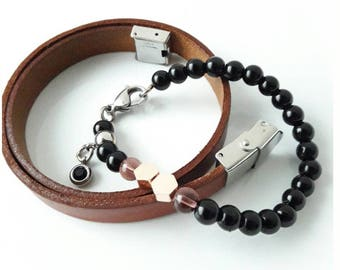 Set Onyx woman's bracelet, handmade of Onix stone, leather, rose gold and stainless steel