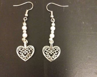 Pearl and silver heart filagree earrings