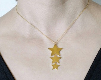 Three little stars necklace, everyday necklace, gift for her,star necklace
