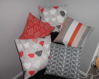 5 Scandinavian style cushion covers, Orla Kiely and John Lewis fabrics which go together perfectly to give a retro eclectic shabby chic look