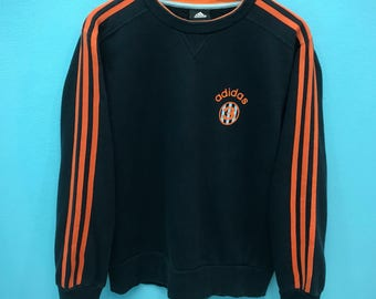 Rare!!! Vintage Adidas Number 3 Sweatshirt 3 Stripes Small Logo Spell out Pullover Jumper Sweater M Size