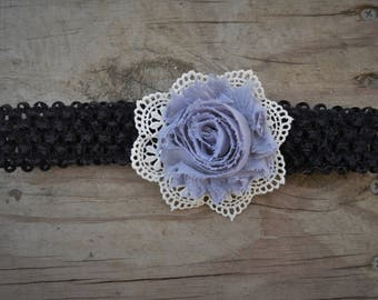 Gray Flower and Lace Headband