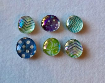 Blue, Green, and Purple- Chevron and polka dot printed magnet set (Set of 6)