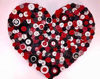 """Heart Button Art, 10"""" Red, Black, and White Heart Button Art, Wall Decor, Wall Hanging- Home Decor"""