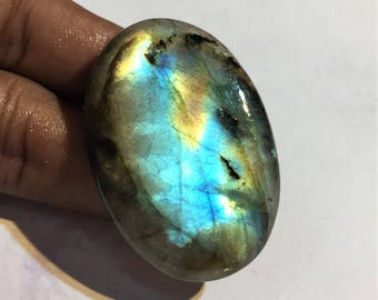 100.4 Cts 100% Natural Medagascar's Labradorite Cabochon Multi Fire Polished Cabochon Healing Quartz Oval Shape 48x32x8 mm N#782-35