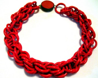 Vintage 1930s Red Celluloid Chunky Link Chain Choker Necklace